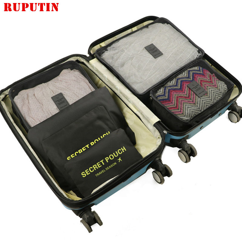RUPUTIN New Large Size 6pcs/Set High Quality Luggage Travel Organiser Packing Cube For Women Travel Mesh Bag Women Make Up Bags