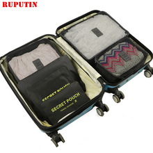 RUPUTIN New Large size 6pcs/Set High Quality luggage Travel Organiser Packing Cube for women Mesh Bag make up Bags