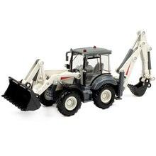 Литой экскаватор 1:50, 4 колеса, лопата, погрузчик, двухсторонний Бульдозер-погрузчик, задняя мотыга, погрузчик, модель грузовика для детей, игрушки в подарок