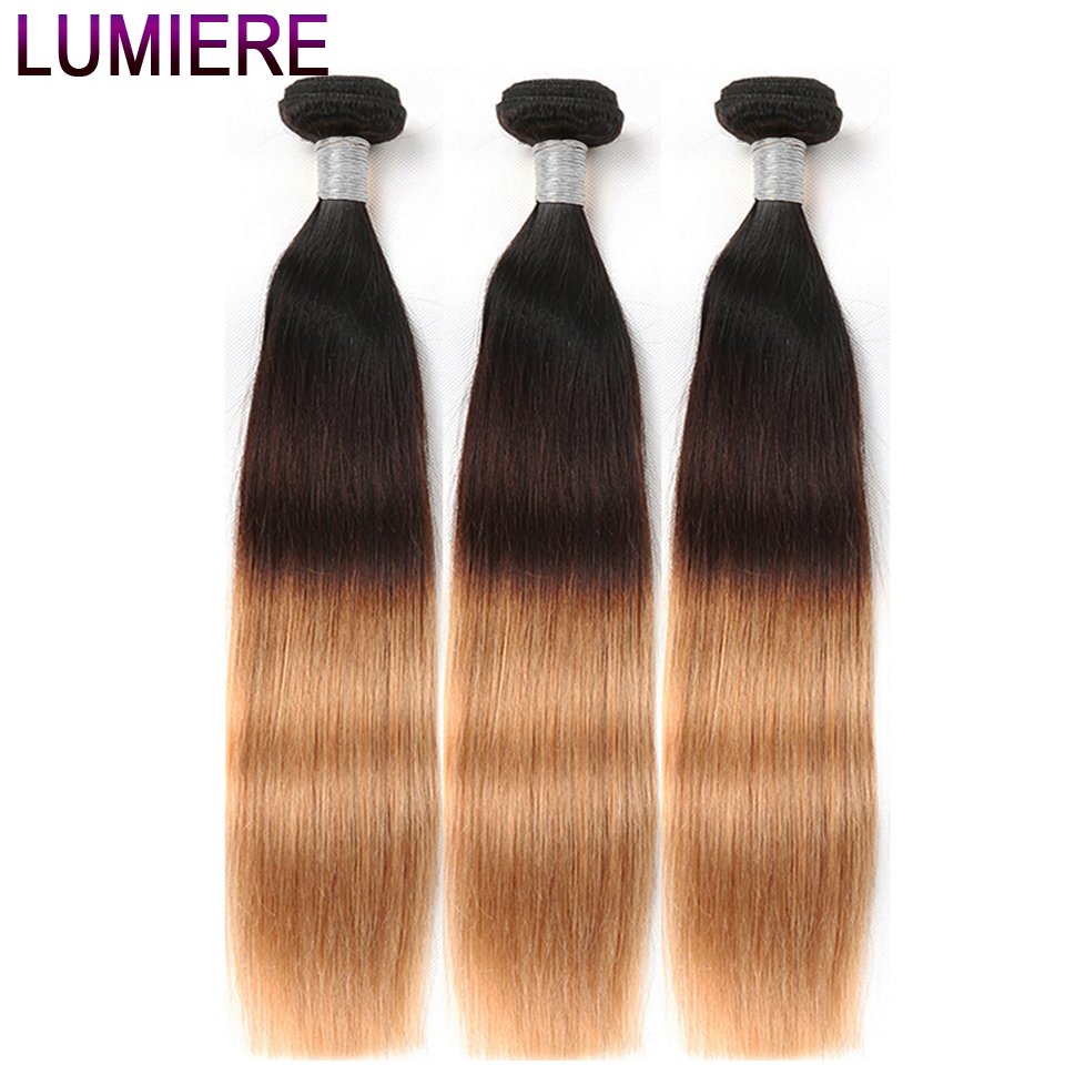 Lumiere Hair 3 Tone Ombre Brazilian Straight Hair Weave Bundles 1B/4/27 Non Remy Human Hair Extensions Can buy 3 Or 4 Bundles