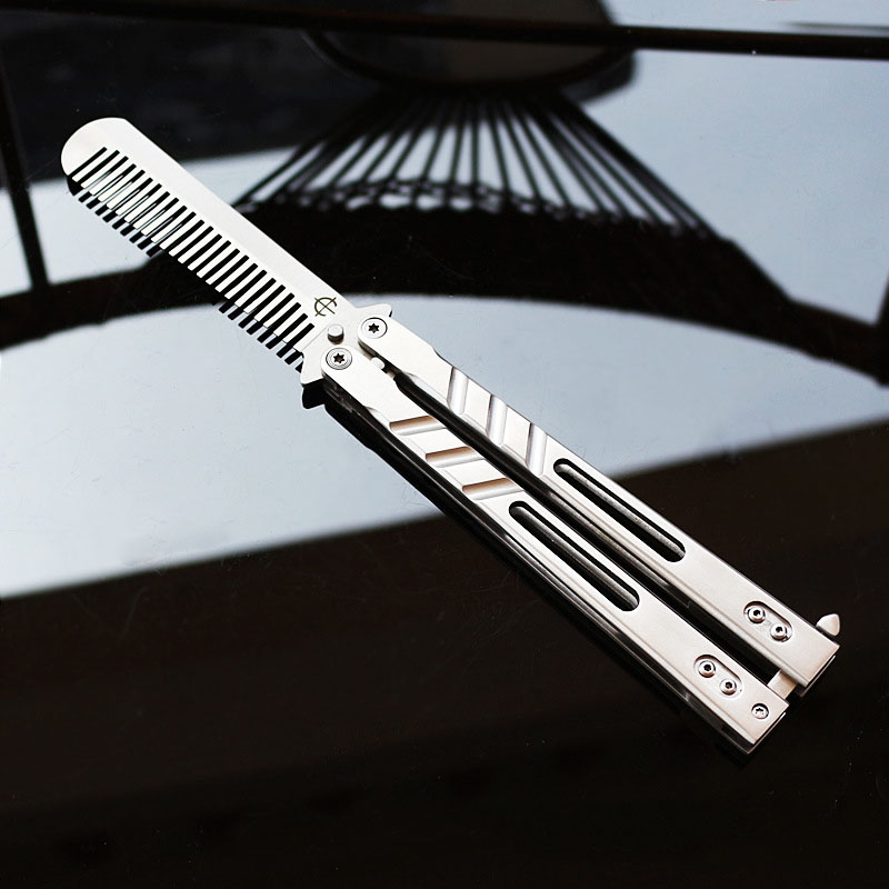 ФОТО Hight quality Stainless Steel   knife butterfly with comb blade Practice Butterfly Training Knife silver color