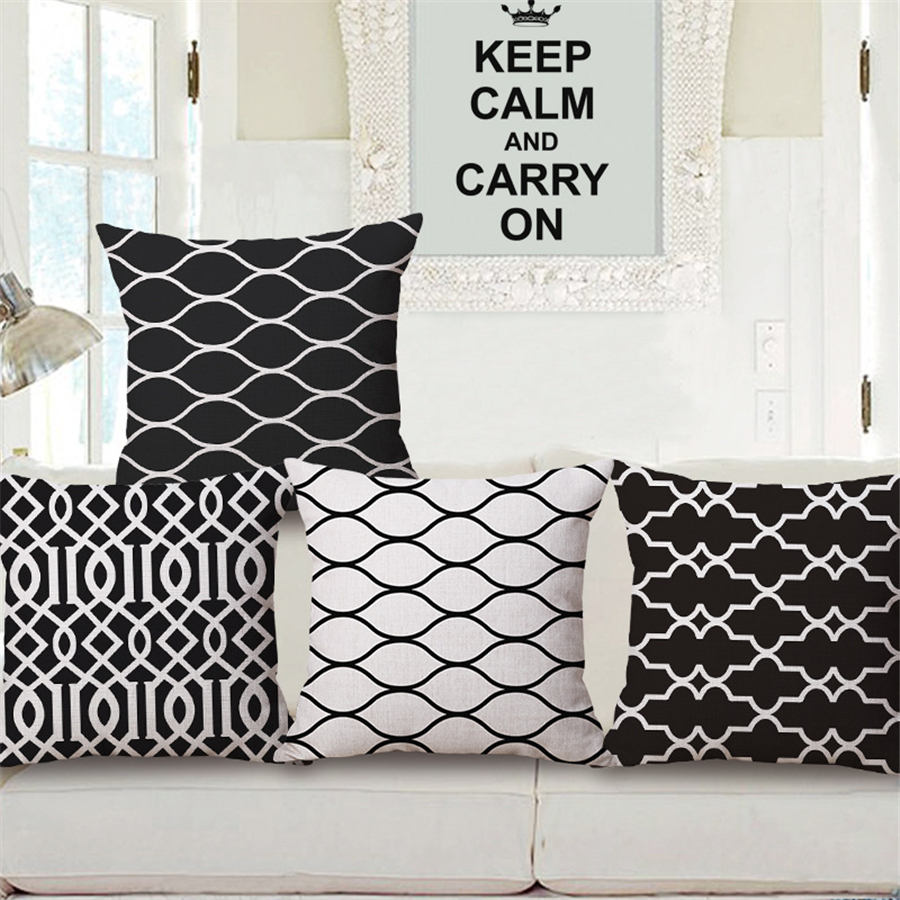 office chair pillow swing lowest price black and white geometric modern simple decorative sofa throw case cushion ...
