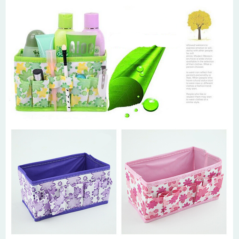 Non-woven Folding Cosmetic Storage Box Makeup Organizer Desktop Dressing Storage Box Small Makeup Case Tool