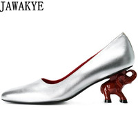 JAWAKYE 2018 fashional Spring shallow Shoes Women silver black real leather Elephant high Heels Runway style Pumps zapatos mujer