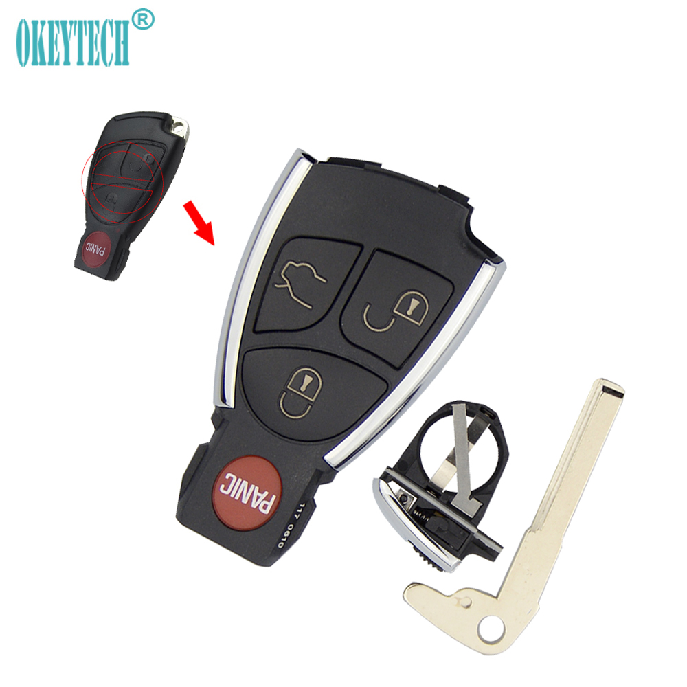 Okeytech replacement 4 button remote key fob case cover for Mercedes benz keys replacement cost