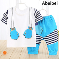 Retail 2016 Summer Style Infant Clothes Baby Clothing Sets Boy Cotton Fists Short Sleeve 2pcs Baby
