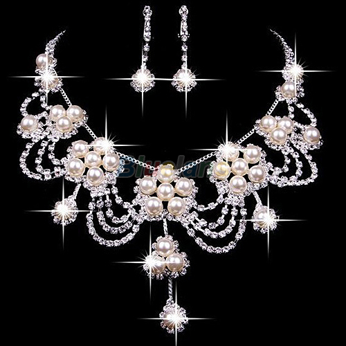 Bluelans Sliver Plated Rhinestone Crystal Faux Pearl Necklace+Earring Jewelry Set For Bride Bridal Wedding
