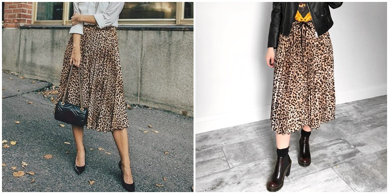 Simplee Vintage leopard print pleated skirts women punk rock korean skirt streetwear Drawstring elastic waist ladies midi skirt 2