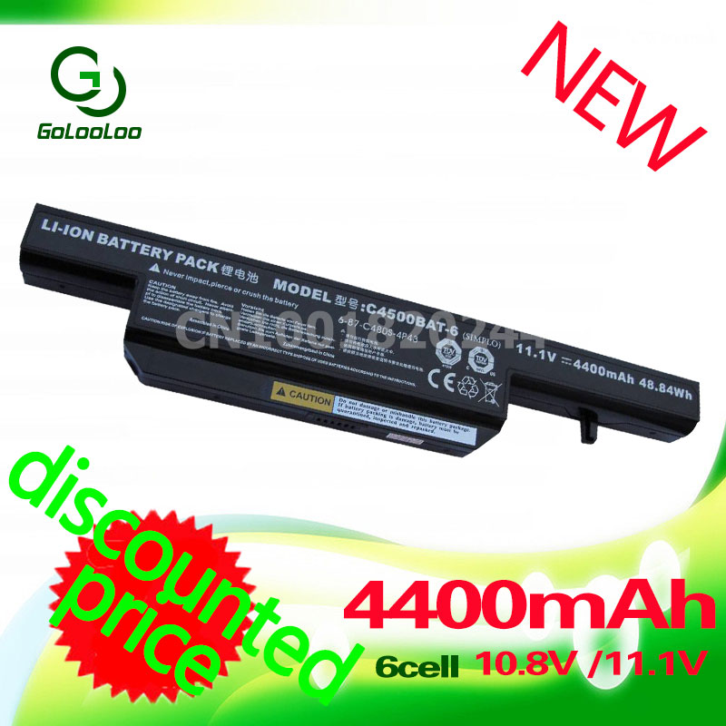 Golooloo laptop battery for Clevo C4500BAT-6 C4500BAT6 B4100M C4500 C4500BAT6 B4105 B5100M B5130M W150 Series W240C W240HU W250H hsw brand new 6cells laptop battery c4500bat 6 c4500bat6 6 87 c480s 4p4 for clevo c4500 series laptop battery bateria akku