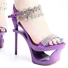 New Female waterproof high-heeled sandals Fashion Rhinestone shoes Fish head hollow sandals