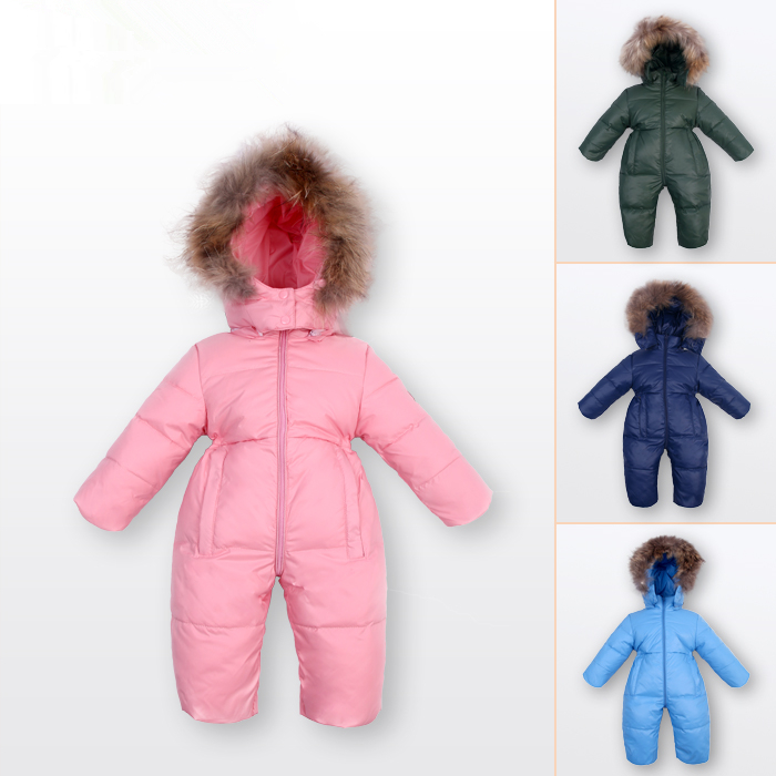 children winter Jumpsuit duck down baby Rompers fur infant girls boys Overalls hooded kids snowsuits warm baby clothes