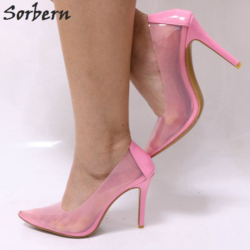 Sorbern Pink See Through Pvc High Heels Women Pumps Pointed Toe Slip On Shiny Ladies Stilettos Heels Custom Colors Runway Shoes sorbern real photo colored glitter sequins women pumps slip on rivets ladies shoes women high heels stilettos pumps eu34 46