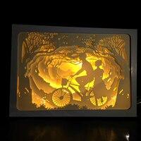 Regalo del Día de san valentín Parejas Bailando Diseño 3D Linterna Papercut Luz Cajas de Luz Bebé de La Noche de La Lámpara de Luz Creativa Pinturas