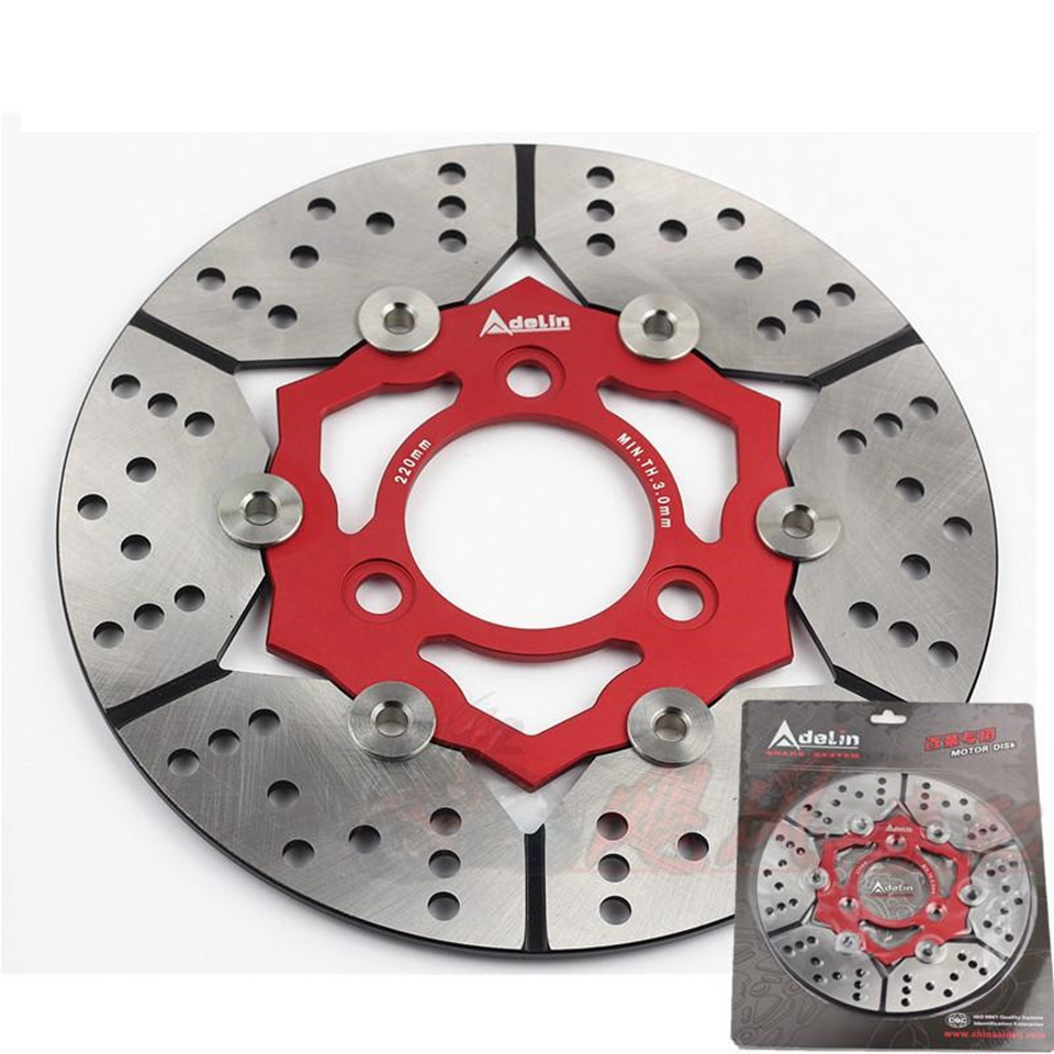 Universal 220mm motorcycle brake disc 1 pcs Adelin Modified Motorcycle Rapid Floating disc for Yamaha Honda BWS Suzuki Harley keoghs adelin motorcycle brake disc floating 220mm disc cnc aluminum alloy stainless steel for yamaha scooter modified