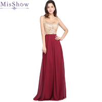 2017 Women Chiffon Long Burgundy Evening Dresses Gold Appliques Beaded See Through Evening Gowns Formal Party