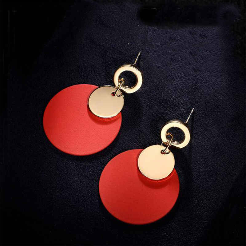 Simple Fashion Wweet Geometric Wooden Earrings Female Long HOOP Earrings