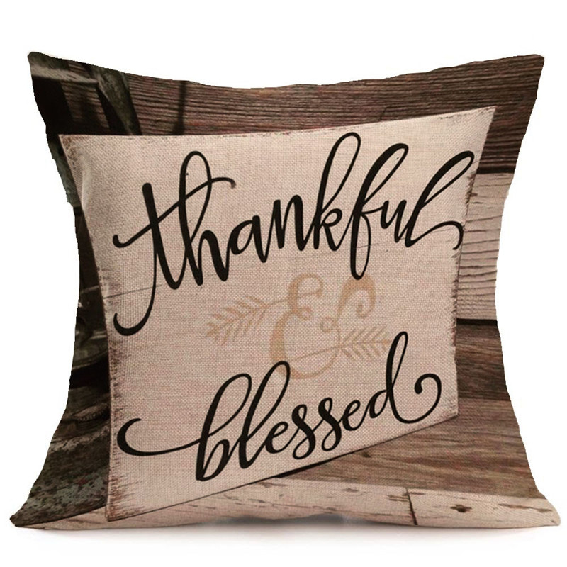 Happy Fall Thanksgiving Day Soft Linen Pillow Case Cushion Cover Home Decor 2018 New Pillow Case Cushion Case Decorative Sofa