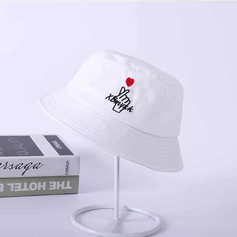 070f8678 Love heart embroidery bucket hat for men women hip hop fisherman hat Adult  lover's panama bob