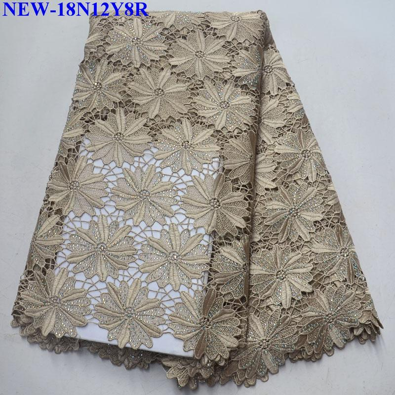 New design high quality African Water Soluble Lace Fabric Embroidery With Rhinestones 5 Yards For Nigerian Women dress SNB01-in Lace from Home & Garden    1