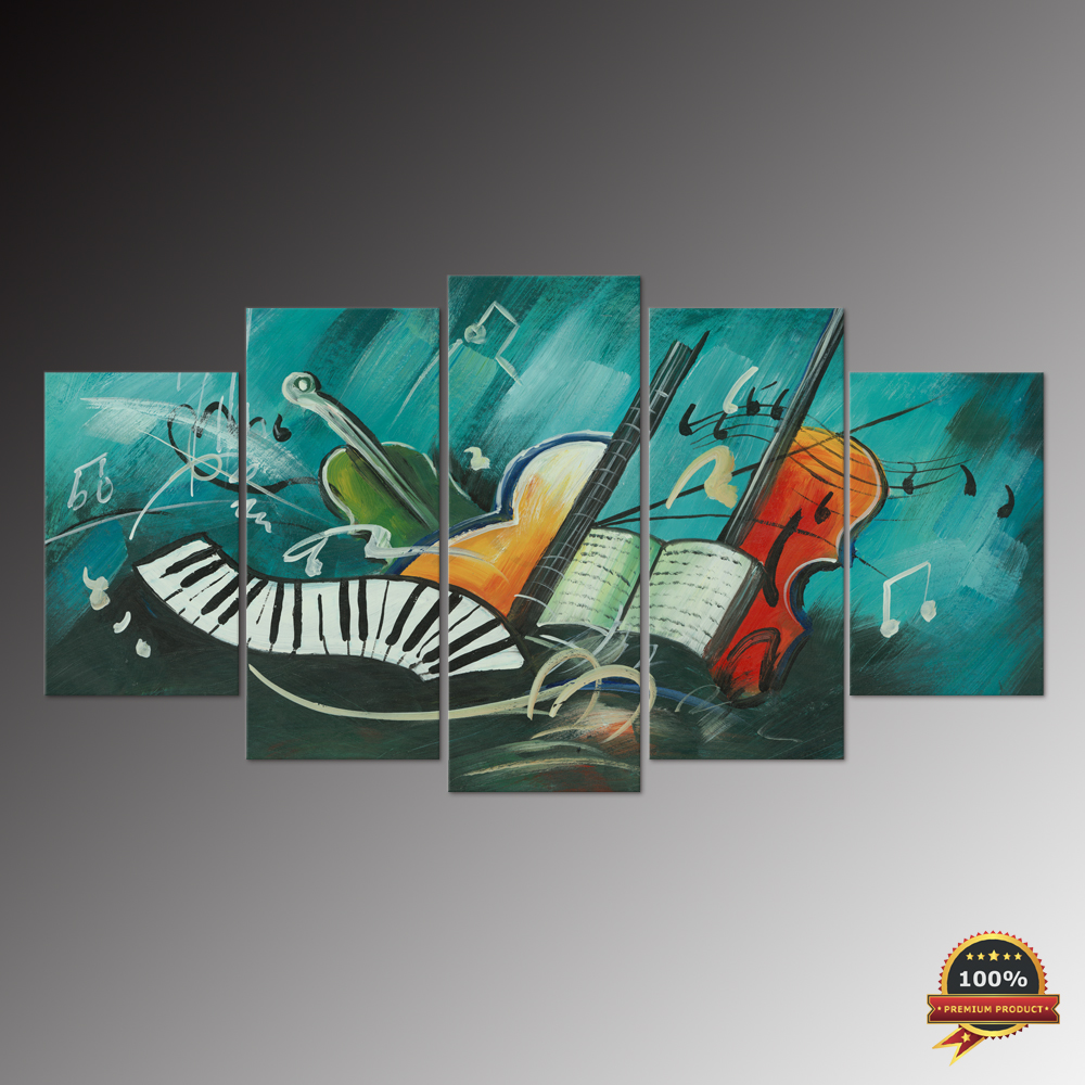 Abstract Music Notes Piano Violin Oil Painting Prints Canvas Spray Painting Modern Wall Art 5 Panels Multi panels Home Decor