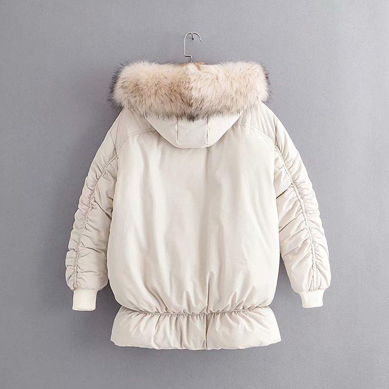 De Zipper En Femmes Nouvelle Longue Coton D'hiver Section Beige Polyvalent Manteau Lâche Et black Mince HqqRw5