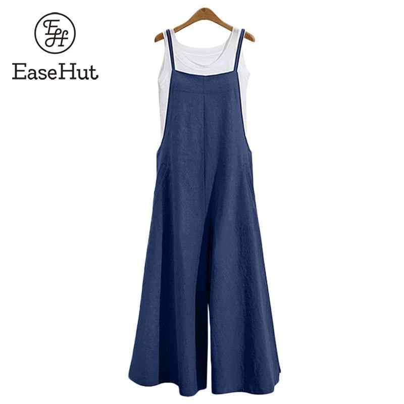 EaseHut Большие размеры, S-3XL женский хлопковый Длинный комбинезон с карманами и широкими штанинами комбинезон на лямках Повседневный свободный костюм-комбинезон