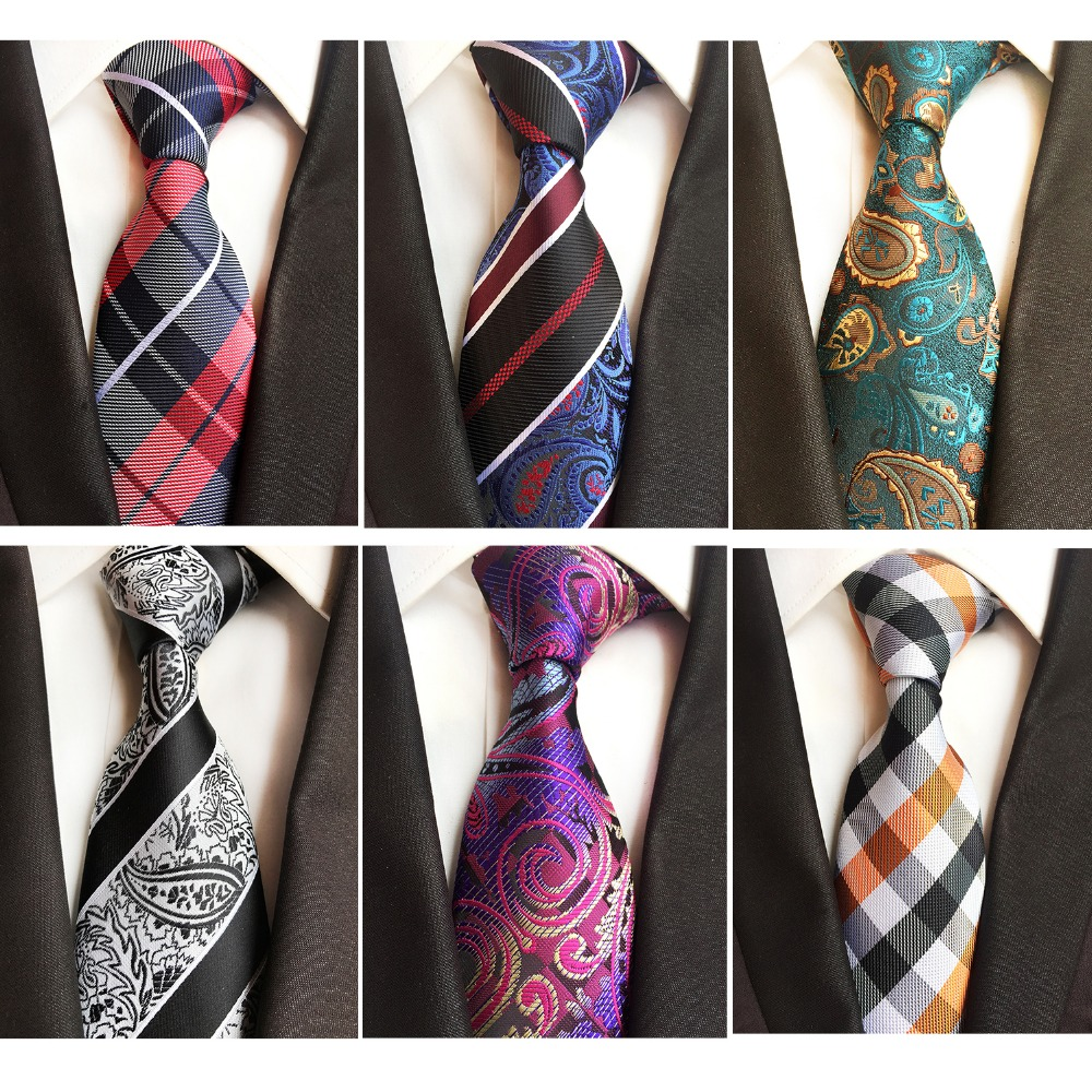 RBOCOTT New Models 8CM Ties Gradient Color Neck Ties Striped&Paisley Tie Mens Blue Black Tie Green Brown Tie For Wedding Party