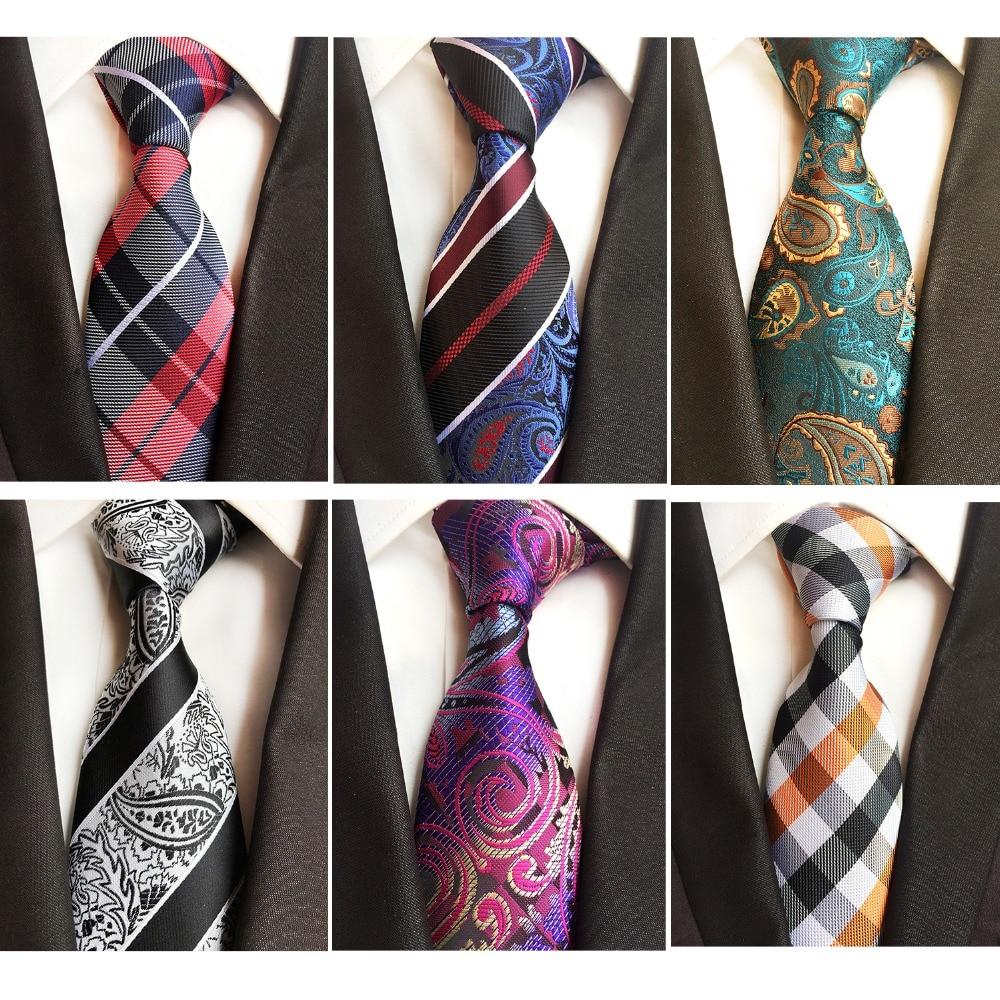 RBOCOTT New Models 8CM Ties Gradient Color Neck Ties Striped&Paisley Tie Mens Blue Black Tie Green Brown Tie For Wedding Party