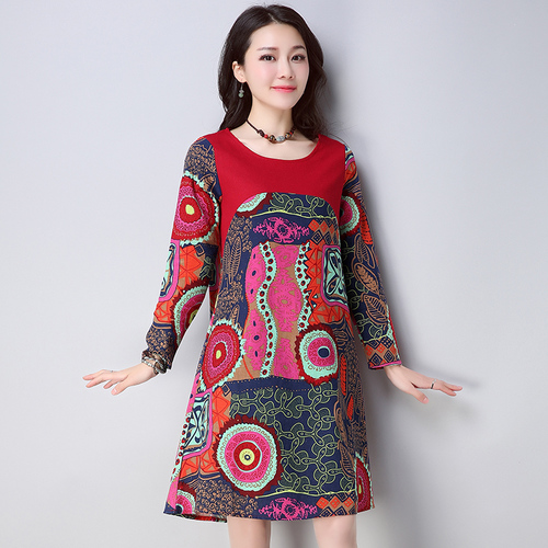 542c26e604 2018 Spring New Cotton And Linen Print Dresses Women Floral Full Sleeve  Vintage Artistic Mori Girl Cheap Clothes China Plus Size