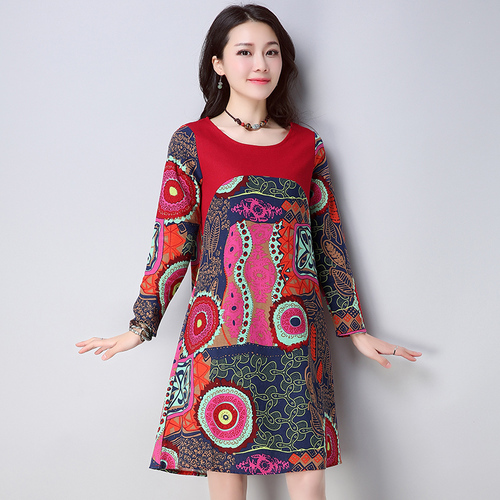ef4dade1ef4e0 2018 Spring New Cotton And Linen Print Dresses Women Floral Full Sleeve  Vintage Artistic Mori Girl Cheap Clothes China Plus Size