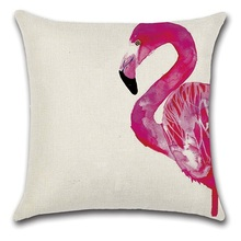 2pcs Ink Painting Rose Pink Flamingo Cool Lovely Animal Ins Style Home Decoration Decor Cushion Cover Pattern Print Throws