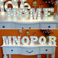 "15cm 6"" White Wooden Letter LED Marquee Sign Alphabet Light Indoor Wall Decoration Light Up Lamp Warm White Night Light"