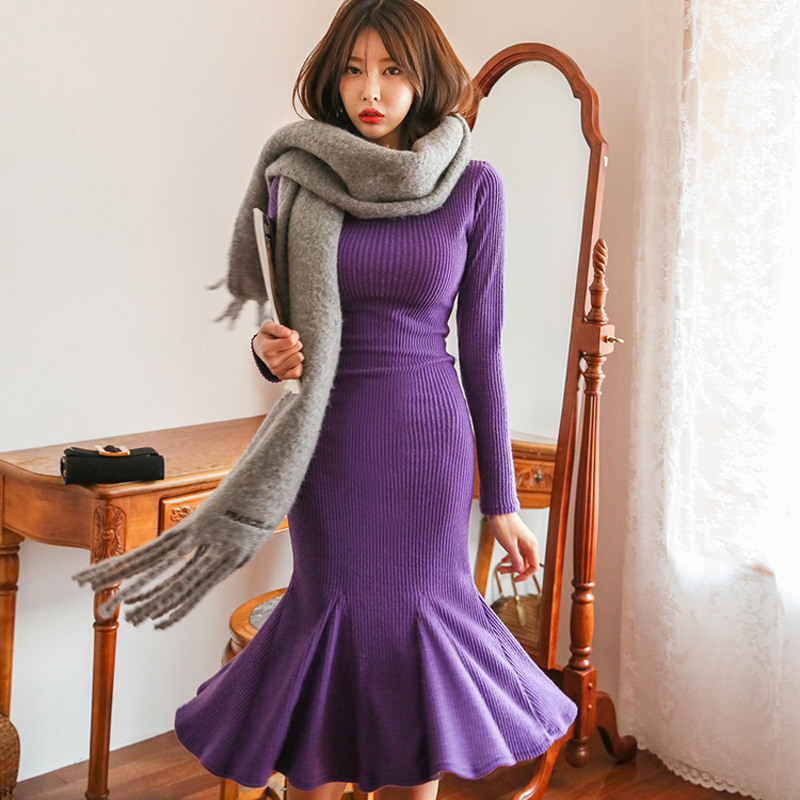 Fashion Round Neck Slim Pack Hip Midi Trumpet Dress Women Knitted Elastic Mermaid Solid Sweater Dresses Party vestidos femme