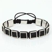 2017 Men Black Snake Leather Bracelet Charm Snake Leather Braiding Macrame Bracelet 10mm Cubic Charms Leather Setting ZSB 196