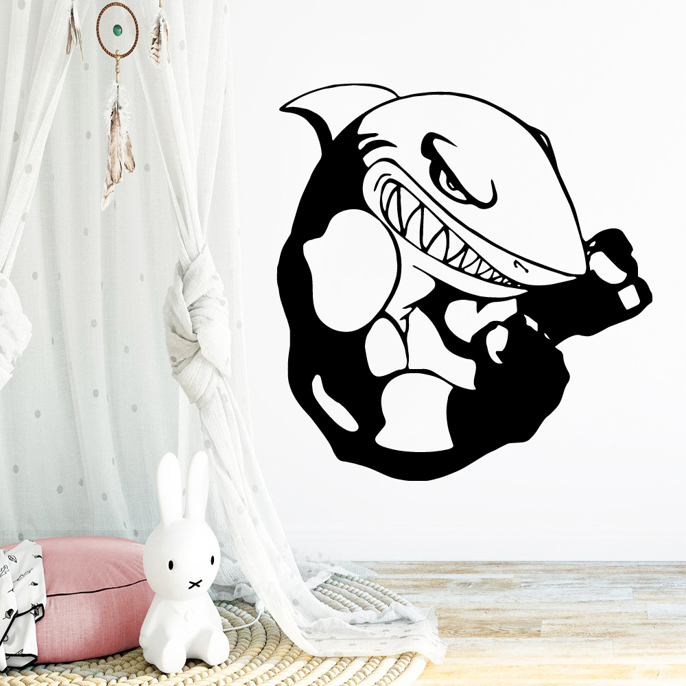Large shark Wall Stickers Decorative Sticker Home Decor For Kitchen Restaurant Pvc Wall Decals Kids Room Mural muursticker in Wall Stickers from Home Garden