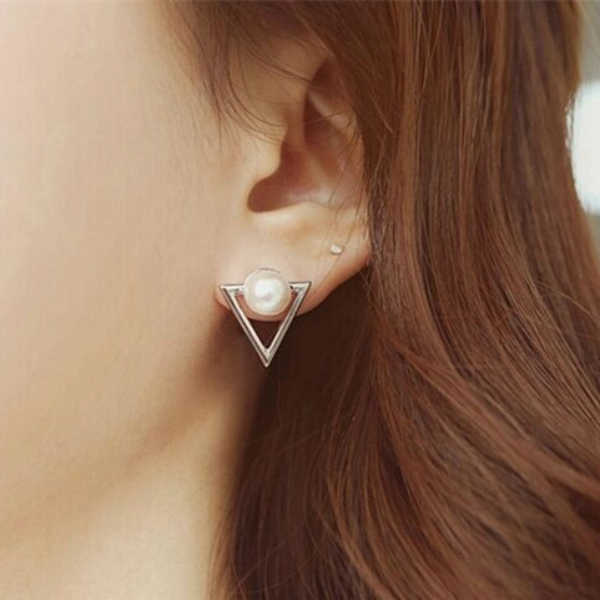 2019 Hot Trendy Nickel Free Earrings Fashion Jewelry Pearl Earrings For Women Brincos Oorbellen Cute Triangle Stud Earrings