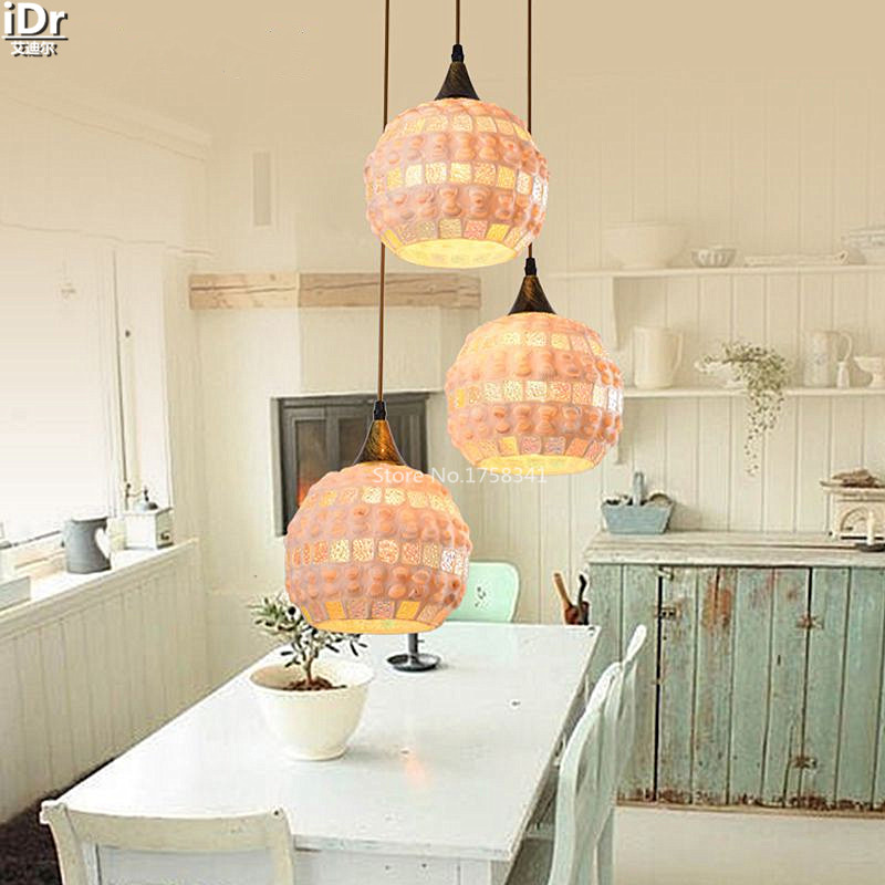 The new lamp Jane European Mediterranean style dining table natural shell lamp Creative Light Pendant Lights