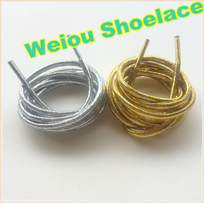 (30 pairs/Lot) Weiou Gold/Silver Flashing Shoelaces metallic gold shoelaces cool sneaker laces for Woman boots125cm/49