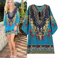 2016 Summer Dress Bohemian Beach Dress Tunic Women Vintage Floral Printed Casual Robe Femme Tunique Blue European Style Vestidos