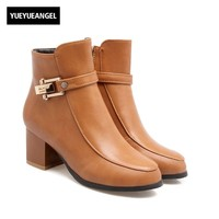 2017 Autumn Womens Ankle Boots Personality Metal Buckle Design Knight Boots Med Block Chunky Heel Lady