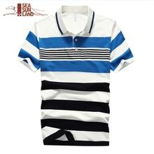 SeaSunLand 2017 Neue Ankunft Herren Polo Shirts 100% Baumwolle Gestreift Markenkleidung Man Wear Kurzarm Schlank Kleidung