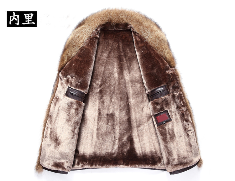 Men s Leather Jacket Lambs Wool Genuine Leather Jacket Male Thick Raccoon Fur Collar Jaqueta Couro Men's Leather Jacket Lambs Wool Genuine Leather Jacket Male Thick Raccoon Fur Collar Jaqueta Couro Masculino Plus Size MZ1105