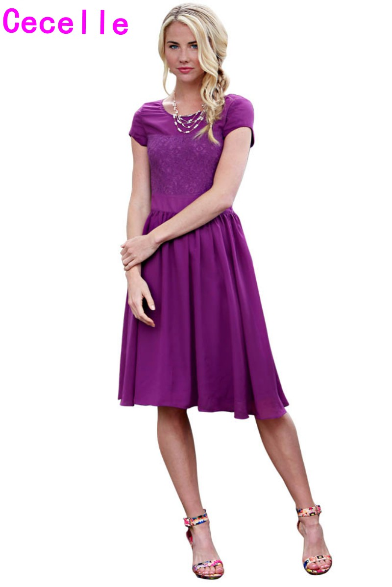 Purple Chiffon Modest Bridesmaid Dresses With Cap Sleeves Knee Length Summer Beach Boho Wedding Party Gowns Robes Informal