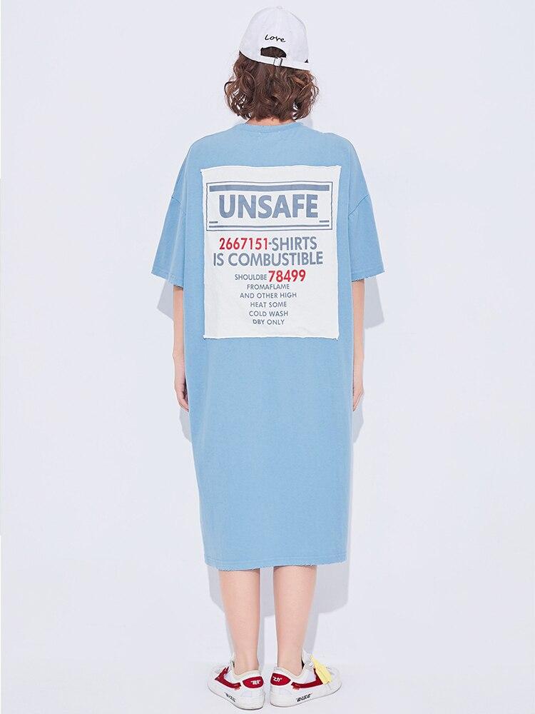 VGH Oversize Long Fund Woman Dress Wear Short Sleeve Summer Damp Cloth Letter Blue Hem Split Women Dress 2018 New