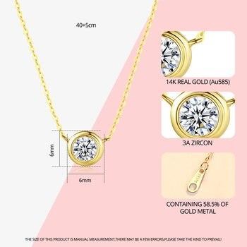 14k Gold Round Pendant Necklace with Zircon 3