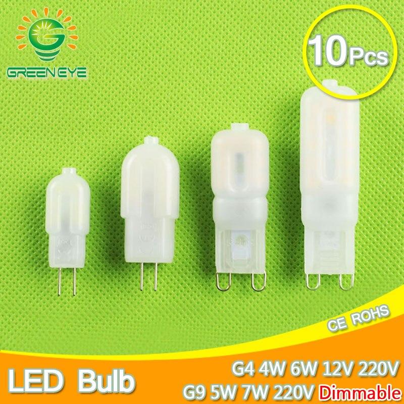 10Pcs LED Bulb G9 220V Dimmable/ G4 AC DC 12V/220V LED Lamp Light 4W 5W 6W 7W Replace Halogen Crystal Lampada Ampoule Bombilla