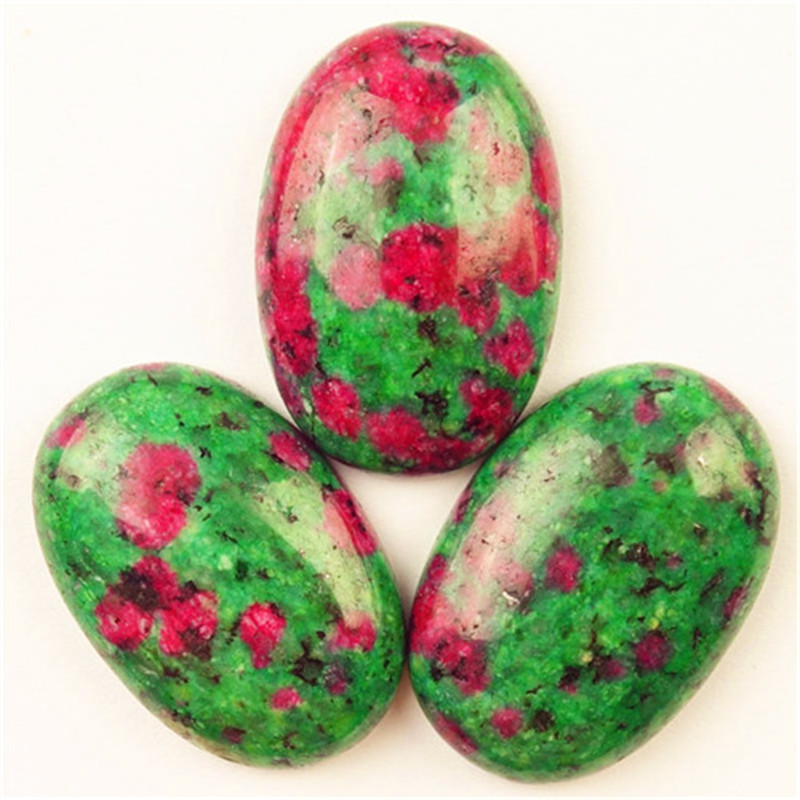 Beautiful 5Pcs 30x22x8mm Rubys in Fuchsite Oval Cab Cabochon Ca180525(Send Randomly)