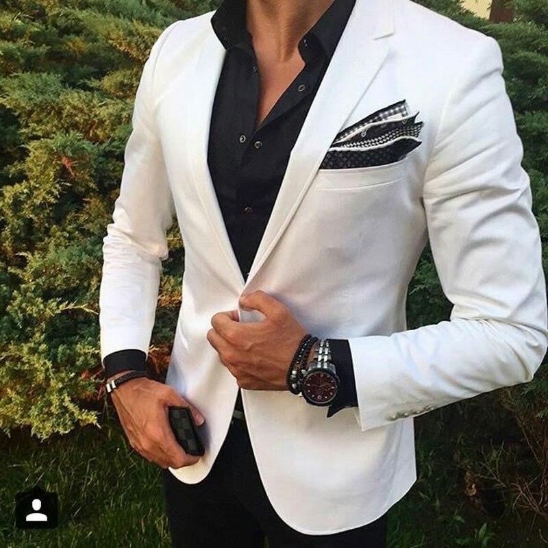 White Men Beach Wedding Suits Groom Wedding Suit Tuxedo Groomsen Blazers Jacket Slim Fit Terno Masculino 2 Piece Coat Pants