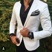 White Men Beach Wedding Suits Groom Suit Tuxedo Groomsen Blazers Jacket Slim Fit Terno Masculino 2 Piece Coat Pants