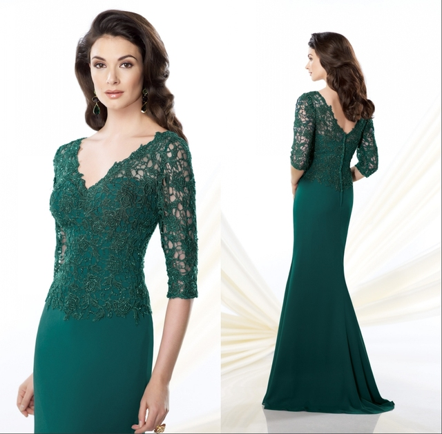 ae52513a3d07 Bridals CW3443 Elegant mermaid dark green chiffon lace top mother of the  bride dress with sleeves
